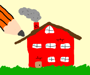drawing a red house