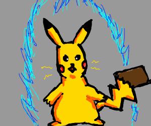 Pikachu goes super saiyan.