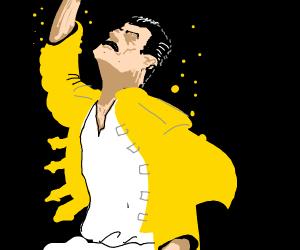 Freddie Mercury in yellow jacket