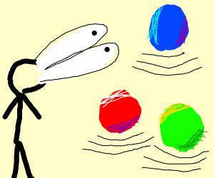 Man stares at strange floating spheres