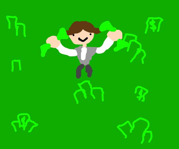 Tycoon in a field of money