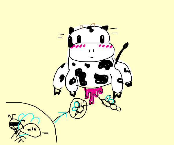 Insect robbing cow of milk