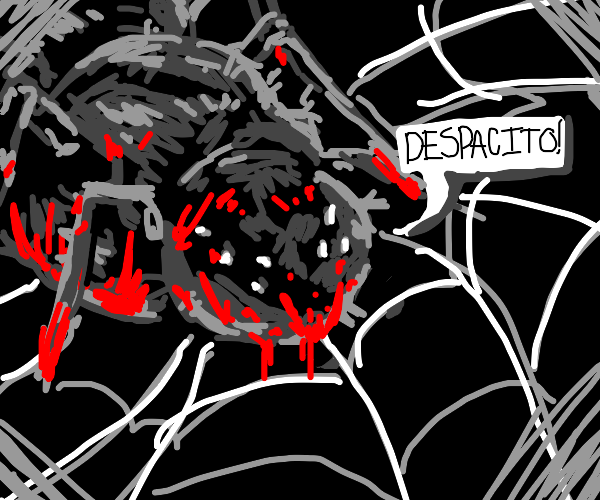 demonic spider sings Despacito from its web