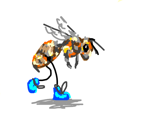 Walking bee in blue shoes