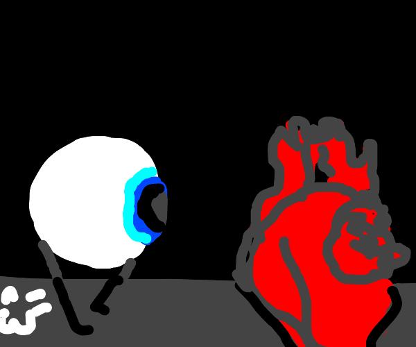 Eye running towards human heart