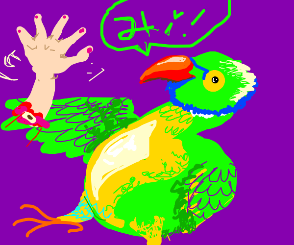 Very VERY big parrot waving hand :)