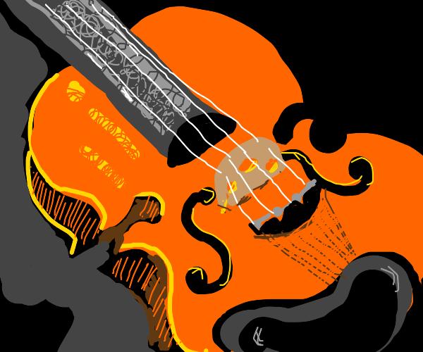 violin in dramatic lighting