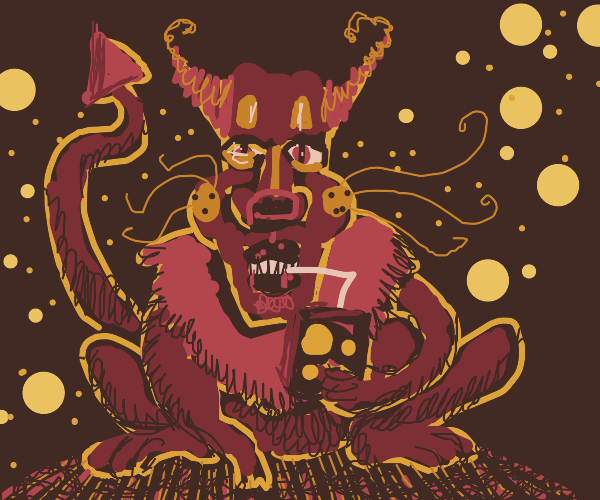 demon tiger thing with a juice box