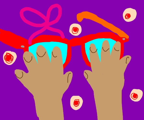 red glasses covered by hands, bow and pimples