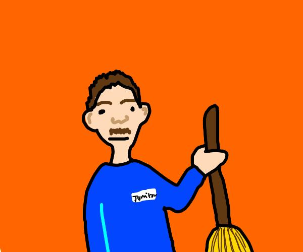 broom cleaning man