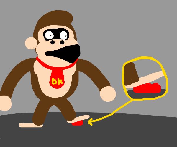 dankey Kong steps on lego