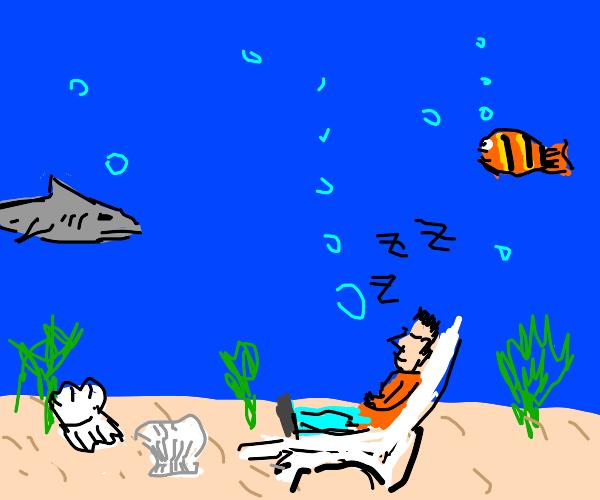 Dad nods off in the ocean.