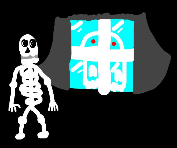 Ghoul stalking skeleton