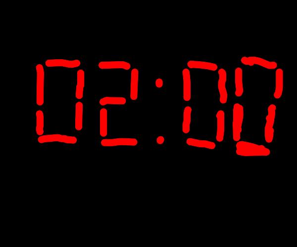 02:00 red digital clock letters, black back