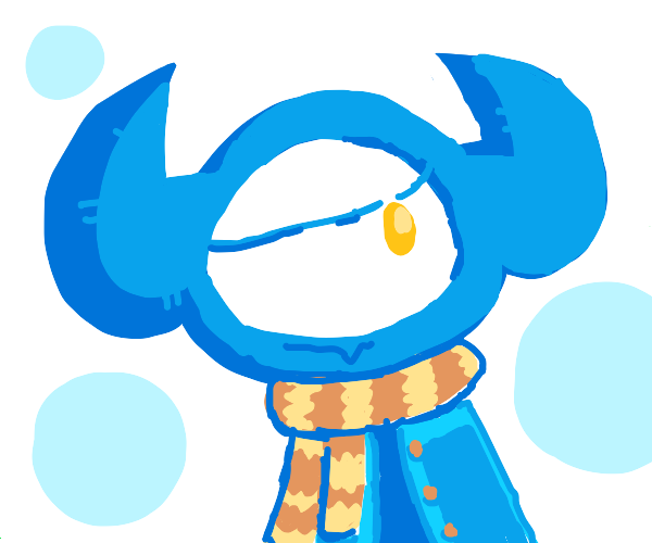 some blue monster with one eye and acutescarf