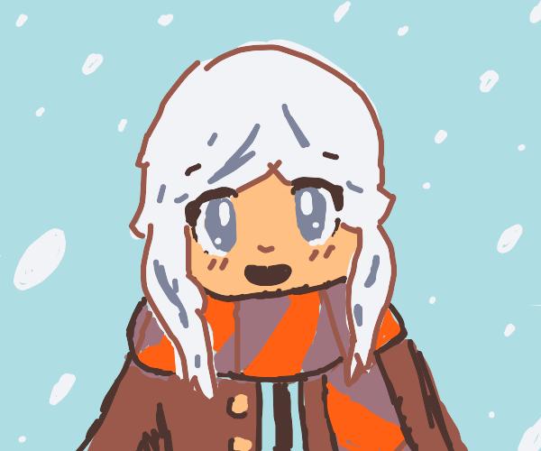 kawaii girl in snow