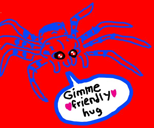 Red-eyed blue man-spider wants a friendly hug