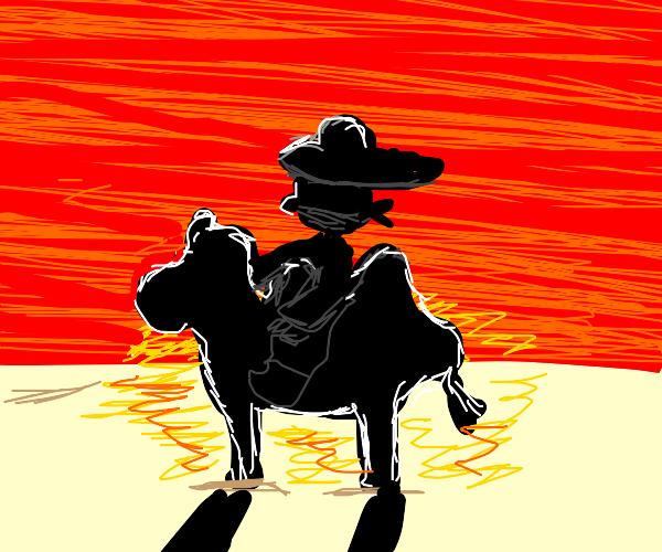 A cowboy riding a Camel in a dessert