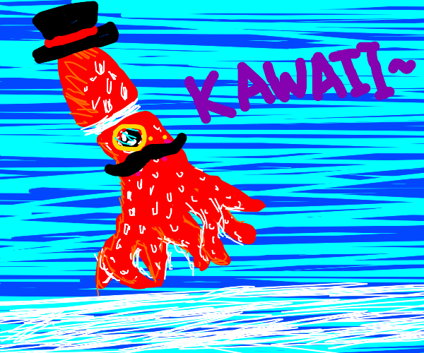 a kawaii but fancy squid