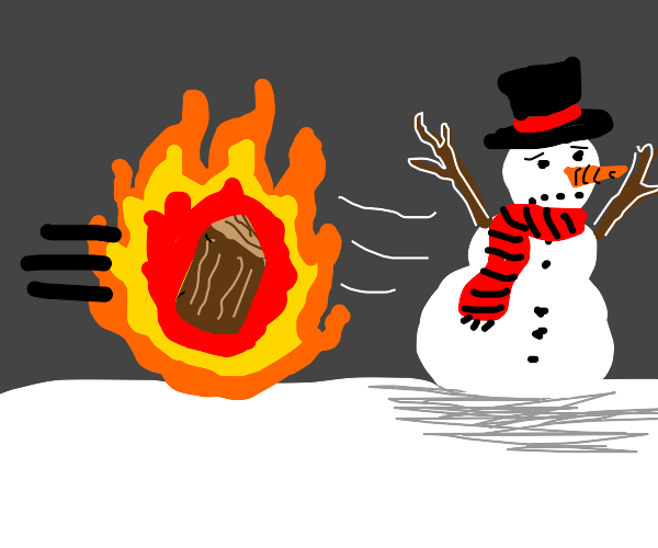 Snowman flees from attacking firewood