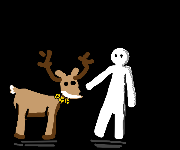 reindeer and a person
