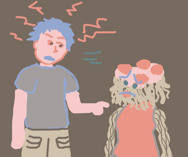 Man yells at spaghetti wife