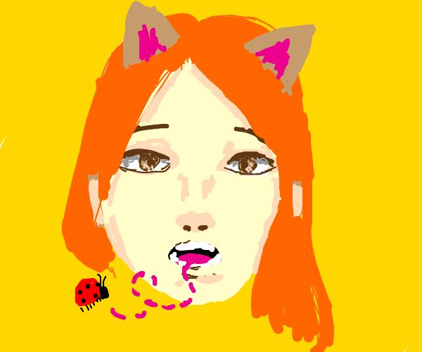 cat girl eats a bug