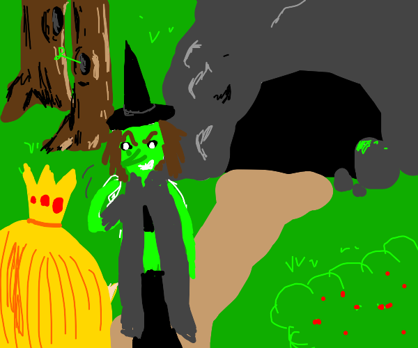 Big princess can follow witch into a cave