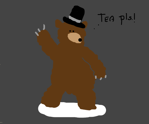 British bear with top hat saying tea please