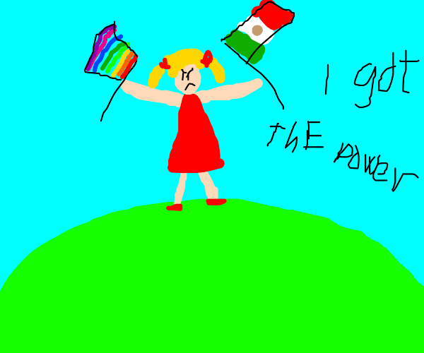 girl holding gay and mexican flag