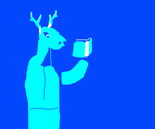 Blue deer reads a book