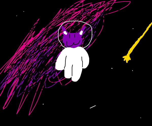 purple space cat