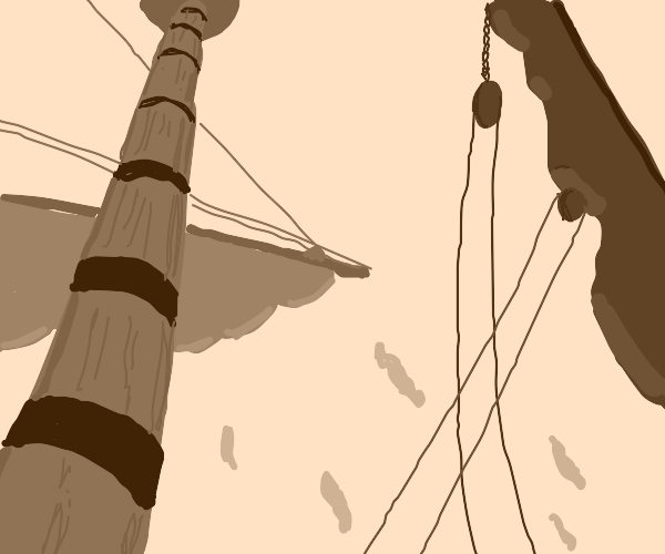 The mast and sails of a ship