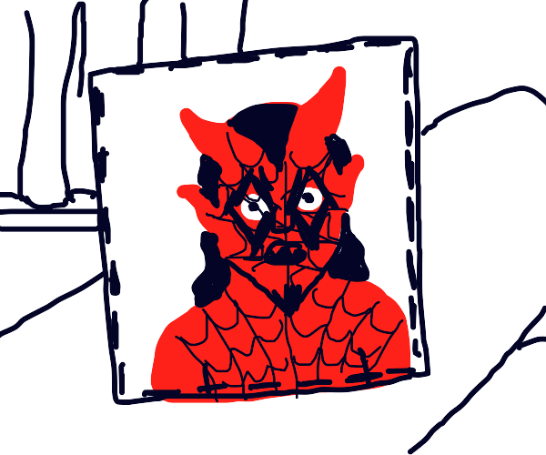 satan is caught in a picture frame