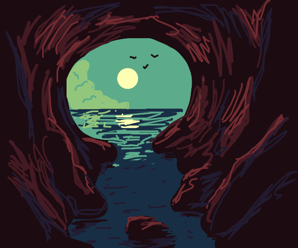 Outlook to sea from inside a cave