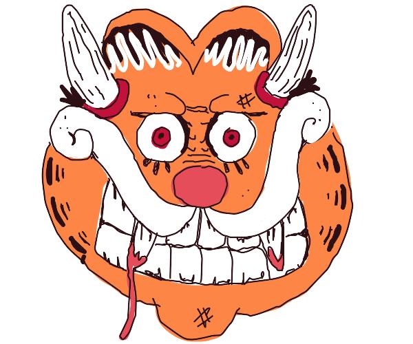 garfield turns into a weird looking demon