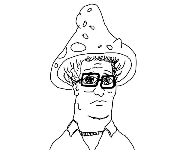 Hank Hill in a toadstool hat