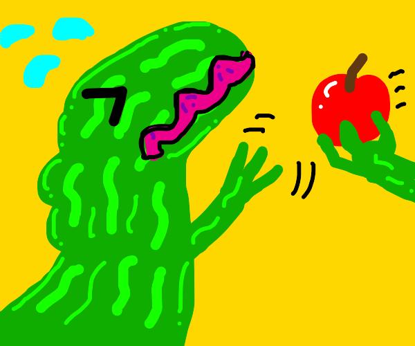 Watermelon dinosaur despises apple