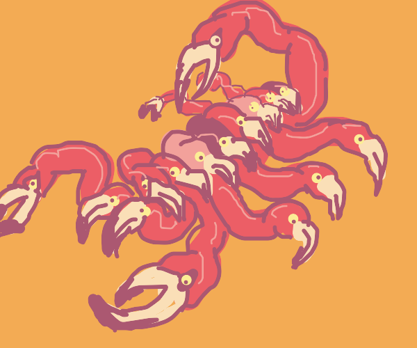 a scorpion but its made of flamingo heads