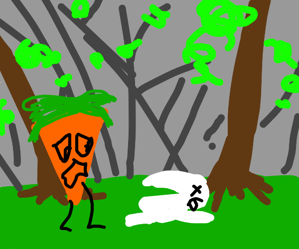 carrot finds dead rabbit in the woods