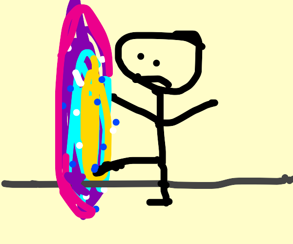 person sticks foot into functioning portal