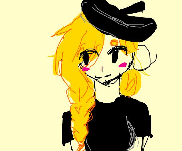 Blonde braided girl w baret