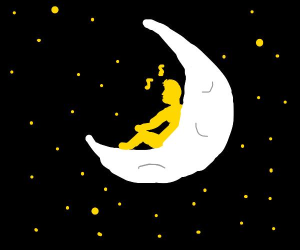 golden man singing on the moon