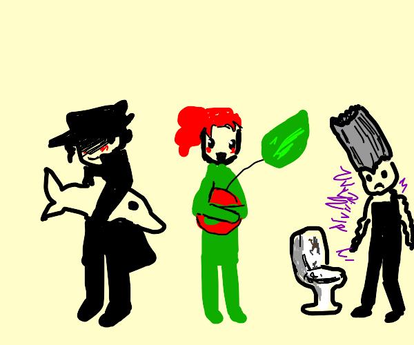 Little Jotaro, Kakyoin, and Polnareff