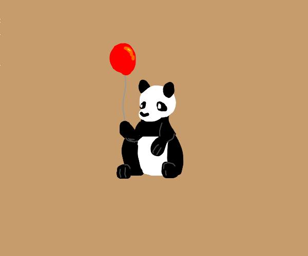 a panda holding a balloon