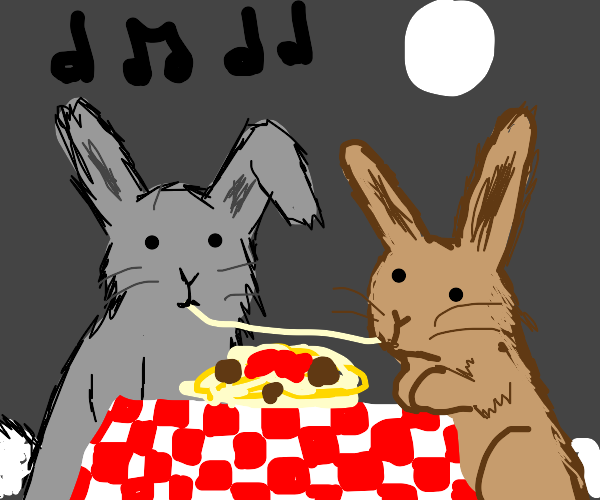 Lady and the Tramp but they're bunnies