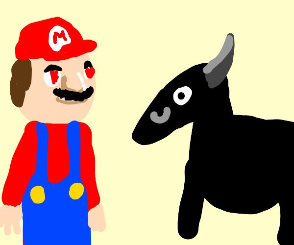 Mario love pregnant black goat