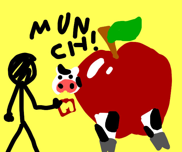 Me and the Apple cow are eating mc donalds