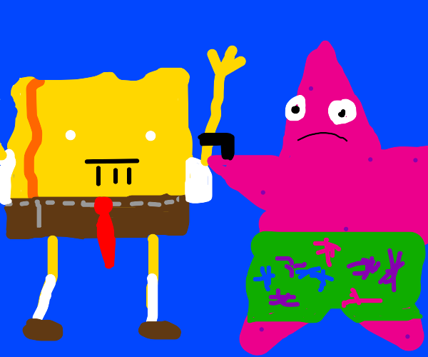 Spongebob is attacked by Patrick with a gun!