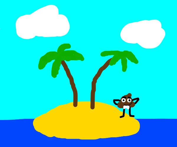 Poop man on a deserted island